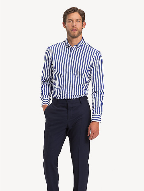TOMMY HILFIGER Bold Stripe Slim Fit Shirt - INDIGO BLUE - TOMMY HILFIGER Formal Shirts - detail image 1