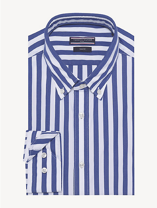 TOMMY HILFIGER Bold Stripe Slim Fit Shirt - INDIGO BLUE - TOMMY HILFIGER Formal Shirts - main image