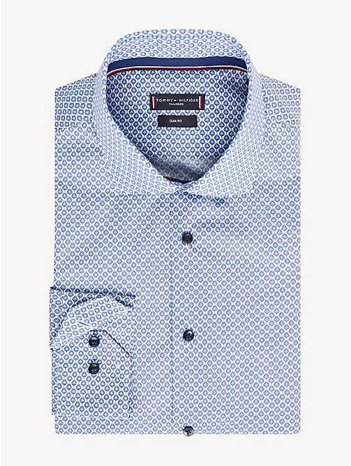 TOMMY HILFIGER Peacock Feather Print Slim Fit Shirt - WHITE MULTI - TOMMY HILFIGER Formal Shirts - main image