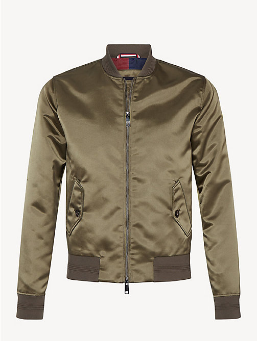 TOMMY HILFIGER Sateen Bomber Jacket - PINE - TOMMY HILFIGER Bomber Jackets - detail image 1