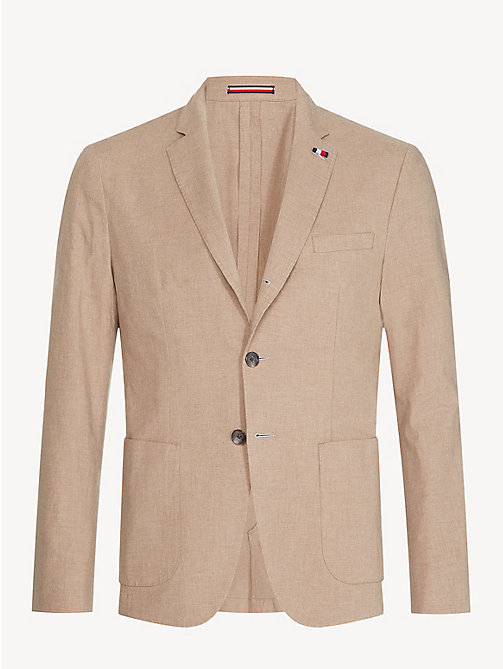 TOMMY HILFIGER Stretch Cotton Slim Fit Blazer - TOASTED COCONUT - TOMMY HILFIGER Something Special - detail image 1
