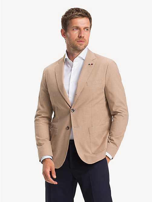 TOMMY HILFIGER Stretch Cotton Slim Fit Blazer - TOASTED COCONUT - TOMMY HILFIGER Blazers - main image
