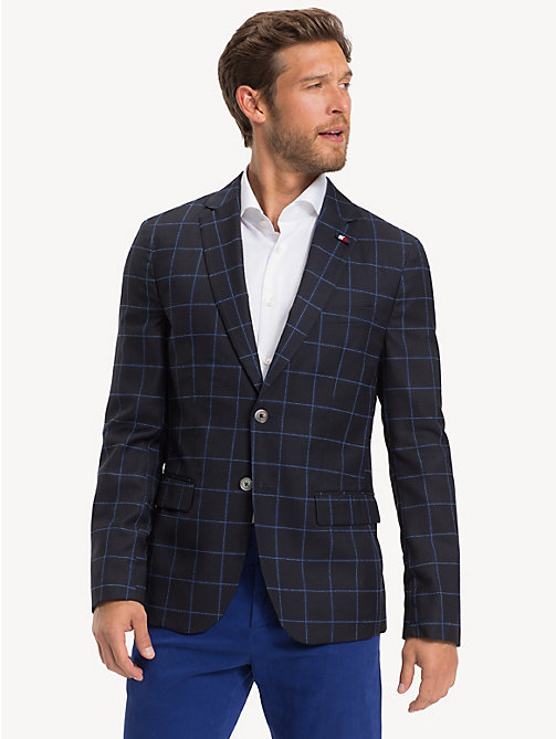 TOMMY HILFIGER Check Virgin Wool Blazer - SKY CAPTAIN - TOMMY HILFIGER NEW IN - main image