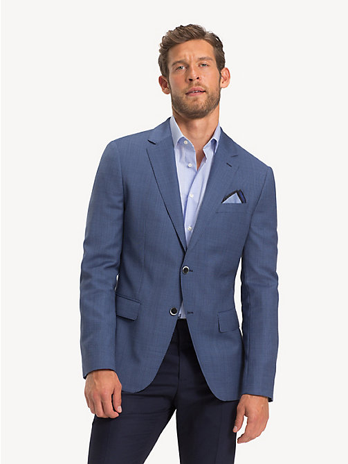 TOMMY HILFIGER Macro Check Virgin Wool Blazer - DUTCH BLUE - TOMMY HILFIGER NEW IN - main image