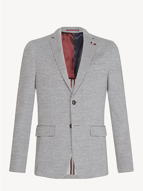 TOMMY HILFIGER Cotton Jersey Slim Fit Blazer - LIGHT GREY - TOMMY HILFIGER NEW IN - detail image 1