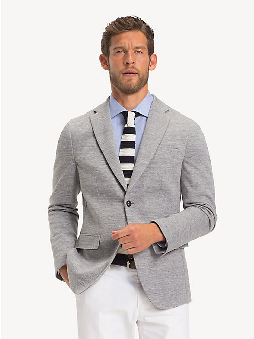 TOMMY HILFIGER Cotton Jersey Slim Fit Blazer - LIGHT GREY - TOMMY HILFIGER NEW IN - main image