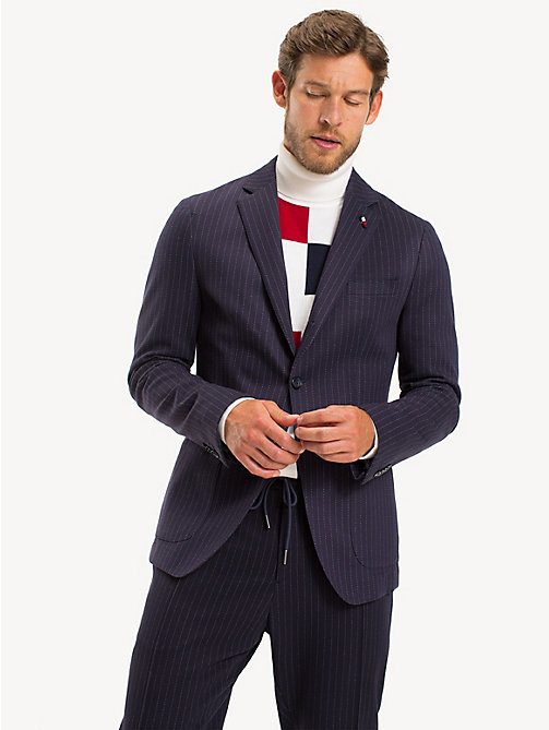 TOMMY HILFIGER Pinstripe Jersey Slim Fit Blazer - MIDNIGHT BLUE - TOMMY HILFIGER Something Special - main image