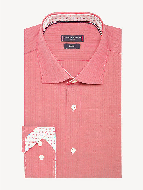 TOMMY HILFIGER Stripe Slim Fit Shirt - RED - TOMMY HILFIGER Formal Shirts - main image