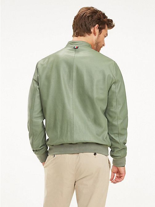 TOMMY HILFIGER Leather Racer Jacket - MINT GREEN - TOMMY HILFIGER Jackets - detail image 1