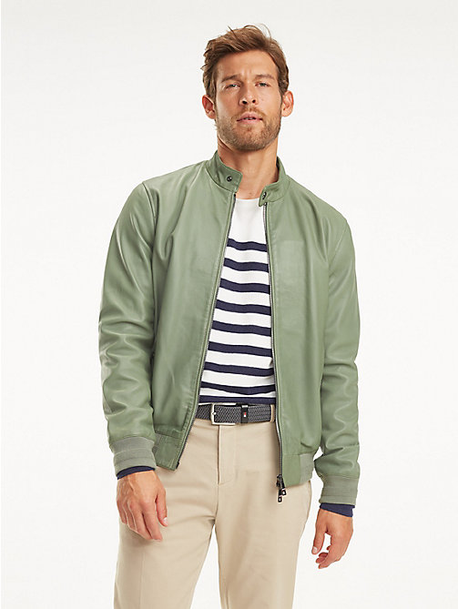 TOMMY HILFIGER Leather Racer Jacket - MINT GREEN - TOMMY HILFIGER Jackets - main image