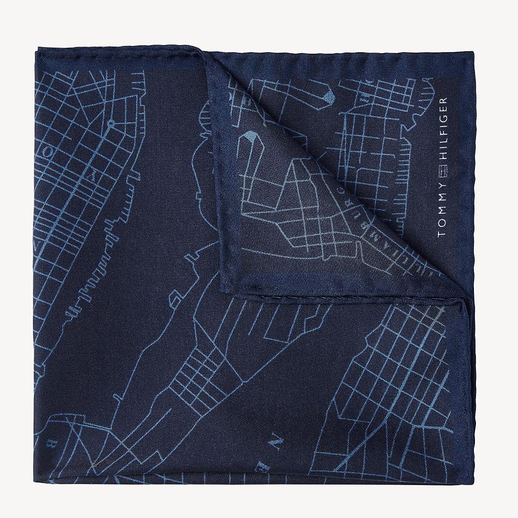 Tommy Hilfiger - Seiden-Einstecktuch mit Landkarten-Print - 1