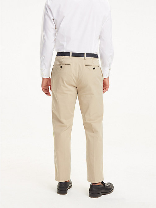 TOMMY HILFIGER Stretch Cotton Regular Fit Trousers - BEIGE - TOMMY HILFIGER Formal Trousers - detail image 1
