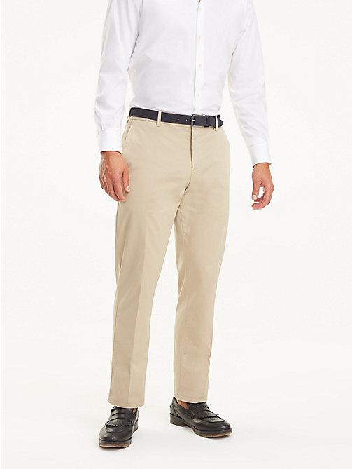 TOMMY HILFIGER Stretch Cotton Regular Fit Trousers - BEIGE - TOMMY HILFIGER Formal Trousers - main image