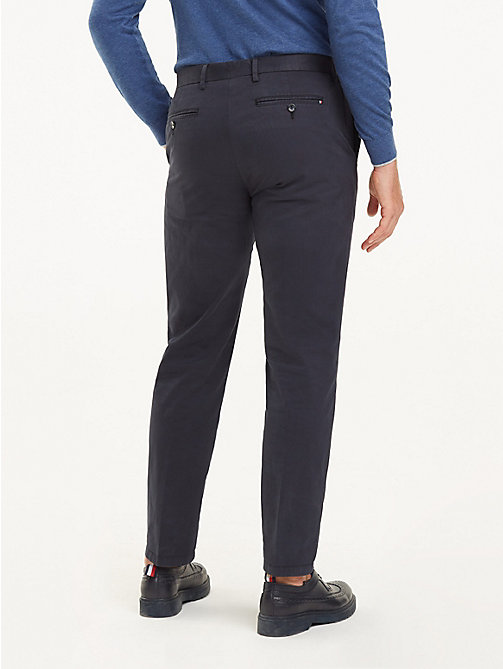 TOMMY HILFIGER Stretch Cotton Regular Fit Trousers - MIDNIGHT BLUE - TOMMY HILFIGER Formal Trousers - detail image 1
