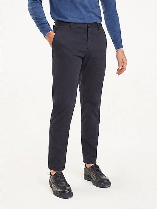 TOMMY HILFIGER Stretch Cotton Regular Fit Trousers - MIDNIGHT BLUE - TOMMY HILFIGER Formal Trousers - main image