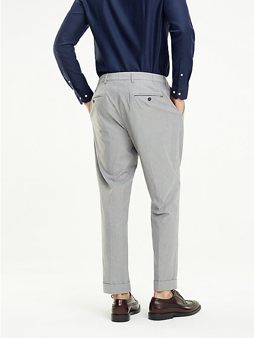 TOMMY HILFIGER Stretch Cotton Tapered Trousers - LIGHT GREY - TOMMY HILFIGER Formal Trousers - detail image 1