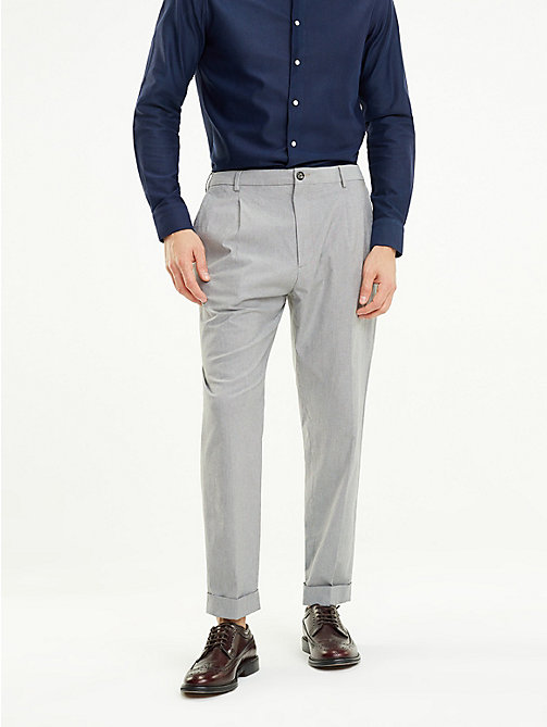 TOMMY HILFIGER Stretch Cotton Tapered Trousers - LIGHT GREY - TOMMY HILFIGER Formal Trousers - main image