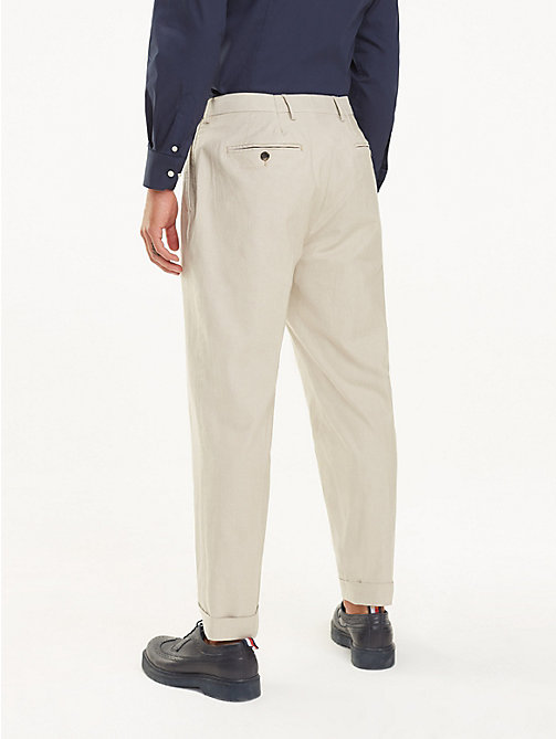 TOMMY HILFIGER Stretch Cotton Tapered Trousers - BEIGE - TOMMY HILFIGER Formal Trousers - detail image 1