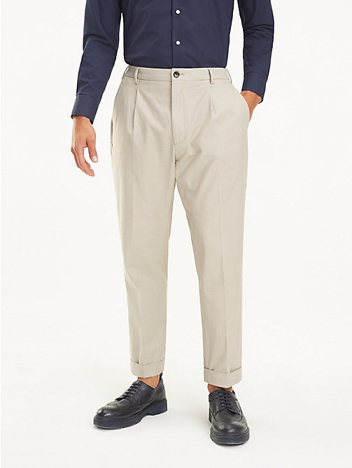 TOMMY HILFIGER Stretch Cotton Tapered Trousers - BEIGE - TOMMY HILFIGER Formal Trousers - main image