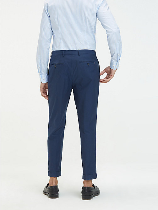 TOMMY HILFIGER Stretch Cotton Tapered Trousers - DENIM BLUE - TOMMY HILFIGER Formal Trousers - detail image 1