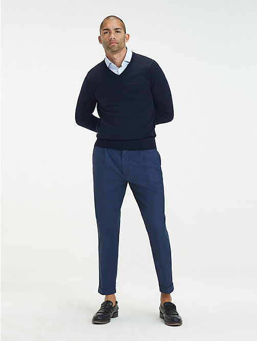 TOMMY HILFIGER Stretch Cotton Tapered Trousers - DENIM BLUE - TOMMY HILFIGER Formal Trousers - main image