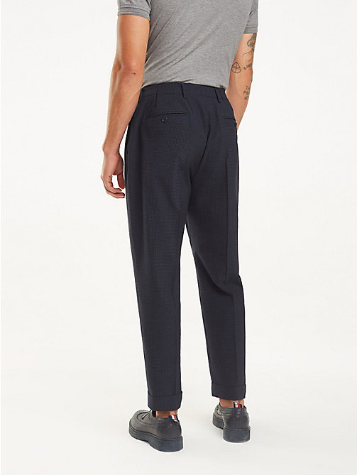 TOMMY HILFIGER Tapered Wool Blend Trousers - NAVY BLAZER - TOMMY HILFIGER Formal Trousers - detail image 1
