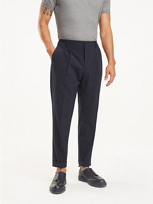 TOMMY HILFIGER Tapered Wool Blend Trousers - NAVY BLAZER - TOMMY HILFIGER Formal Trousers - main image