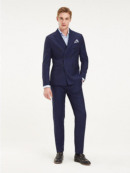 TOMMY HILFIGER Pinstripe Double Breasted Virgin Wool Suit - MEDIVAL BLUE - TOMMY HILFIGER Fitted - detail image 1