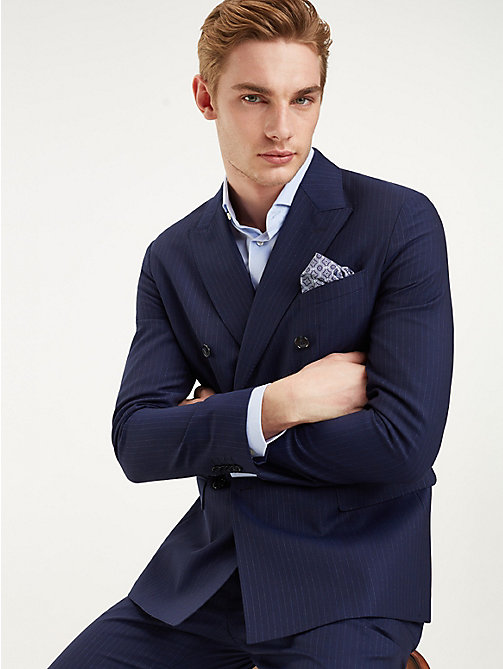 TOMMY HILFIGER Pinstripe Double Breasted Virgin Wool Suit - MEDIVAL BLUE - TOMMY HILFIGER Fitted - main image