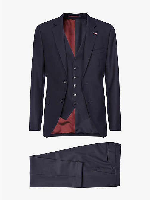 TOMMY HILFIGER Slim Fit 3-Piece Virgin Wool Suit - NAVY BLAZER - TOMMY HILFIGER Fitted - detail image 1