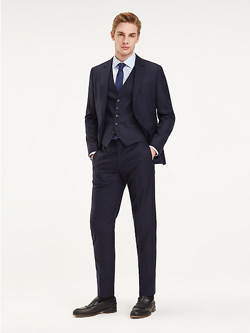 TOMMY HILFIGER Slim Fit 3-Piece Virgin Wool Suit - NAVY BLAZER - TOMMY HILFIGER Fitted - main image
