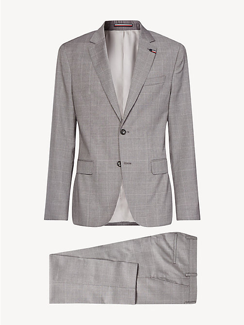TOMMY HILFIGER Check Regular Fit Virgin Wool Suit - SILVER GREY - TOMMY HILFIGER Fitted - detail image 1