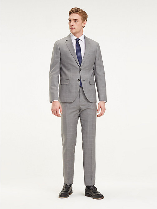 TOMMY HILFIGER Check Regular Fit Virgin Wool Suit - SILVER GREY - TOMMY HILFIGER Fitted - main image