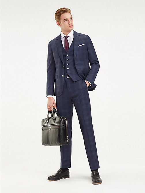 TOMMY HILFIGER Check 2-Piece Virgin Wool Suit - MEDIVAL BLUE - TOMMY HILFIGER Fitted - main image