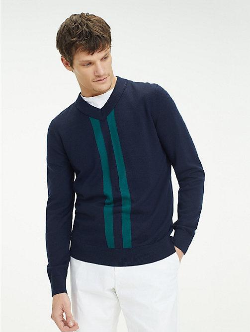 c8655e4d90b80 TOMMY HILFIGERSweter z mieszanki wełny z dekoltem w kształcie litery V