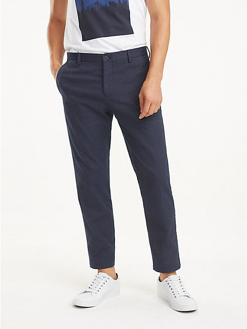 TOMMY HILFIGER Stretch Cotton Slim Fit Trousers - SKY CAPTAIN - TOMMY HILFIGER Formal Trousers - main image