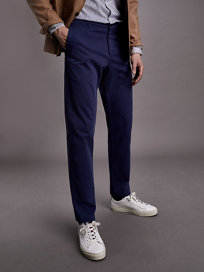 pantaloni th flex slim fit blu da uomo tommy hilfiger