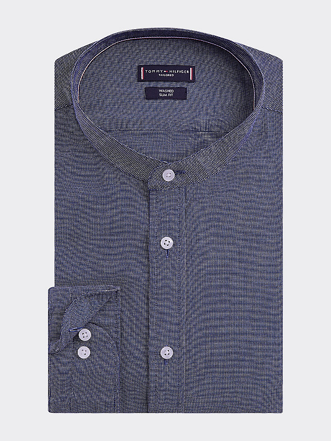 blue upright collar slim fit shirt for men tommy hilfiger