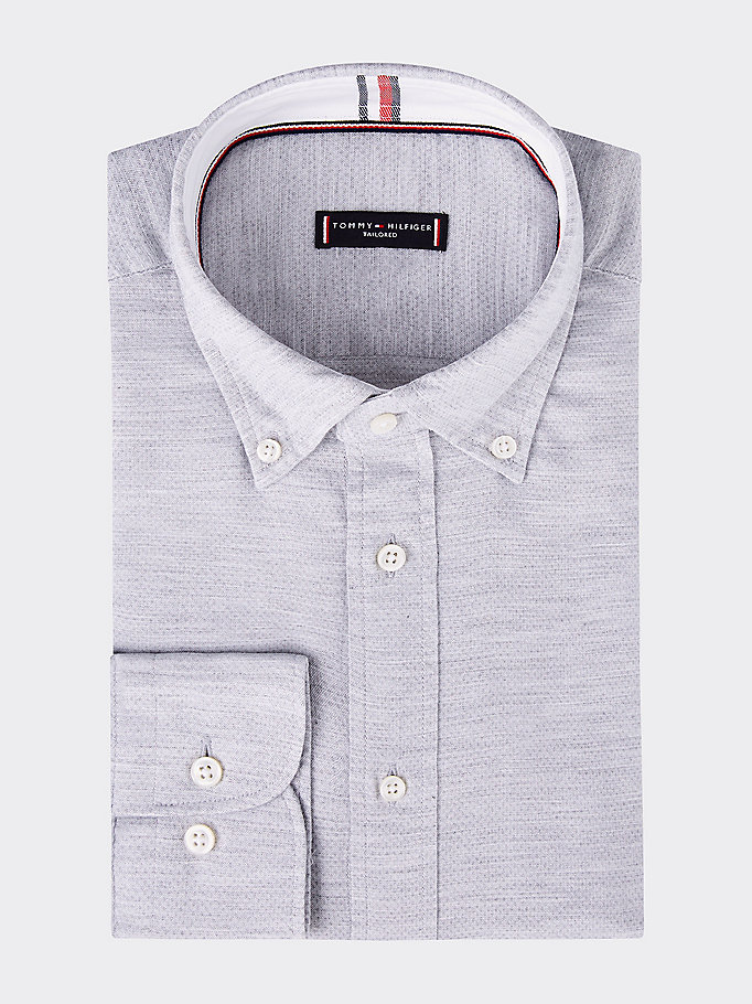 grey washed dobby button-down regular fit shirt for men tommy hilfiger