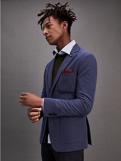 72f555ae blue cotton blend slim fit blazer for men tommy hilfiger