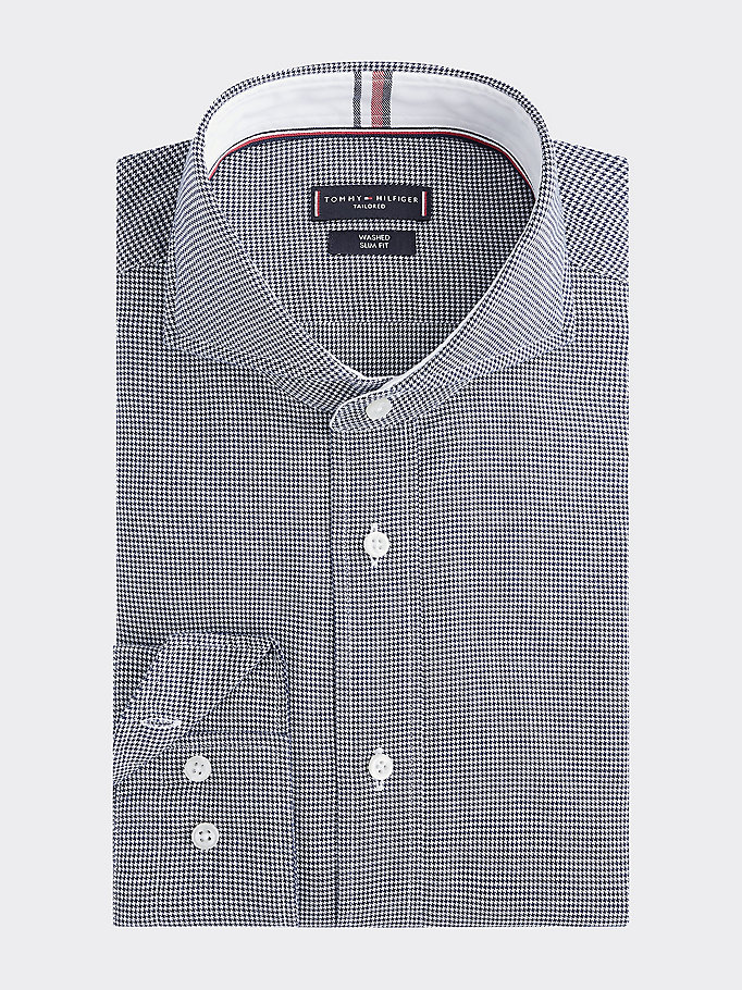 blue houndstooth check slim fit shirt for men tommy hilfiger