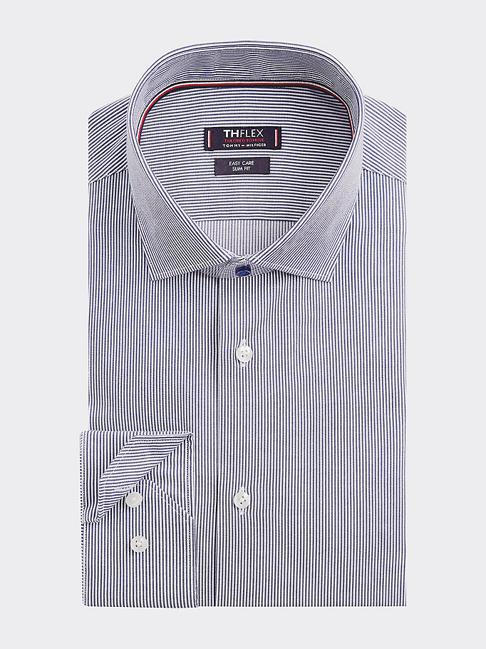 blue th flex stripe slim fit shirt for men tommy hilfiger