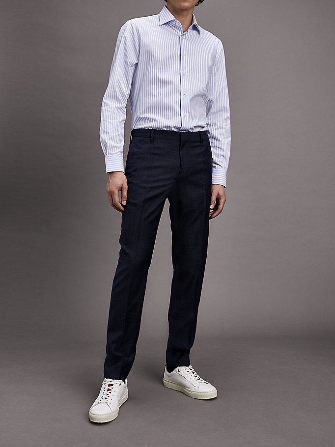 blauw essentials slim fit wollen broek voor men - tommy hilfiger