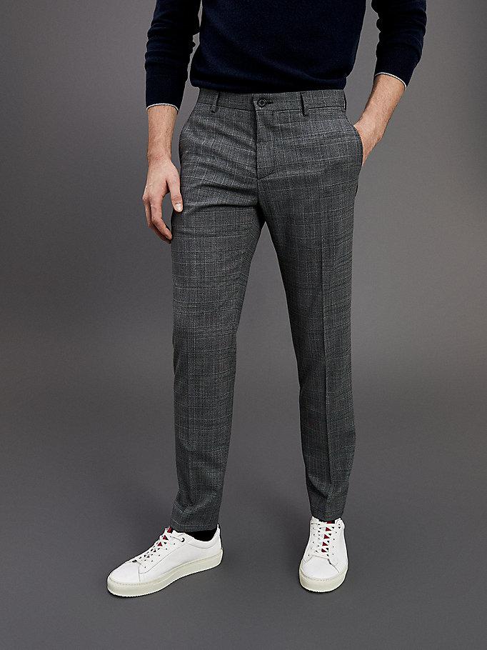 Th Flex Slim Fit Check Trousers Grey Tommy Hilfiger