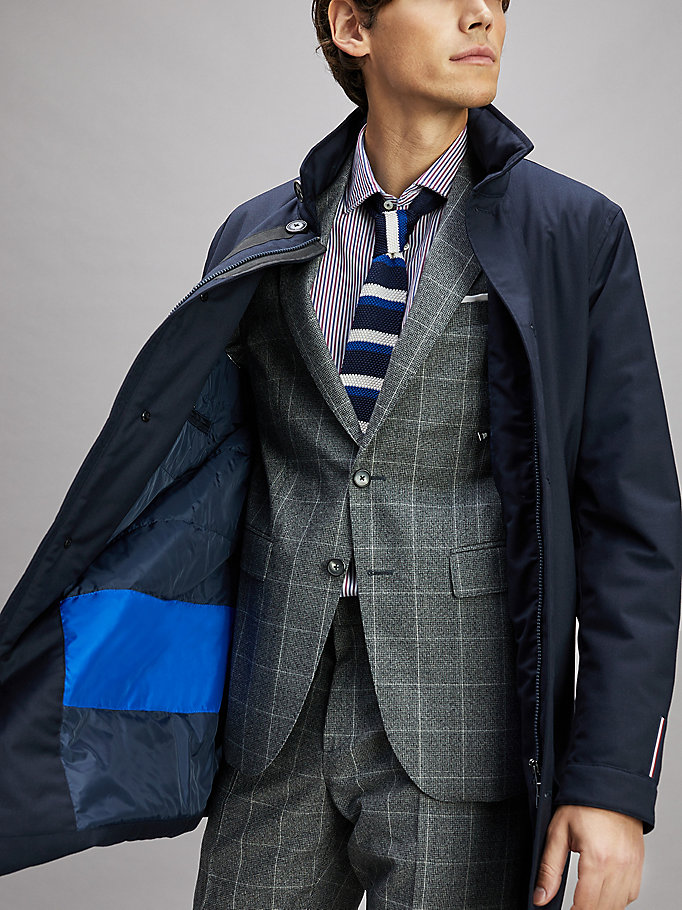 blue stand-up collar coat for men tommy hilfiger