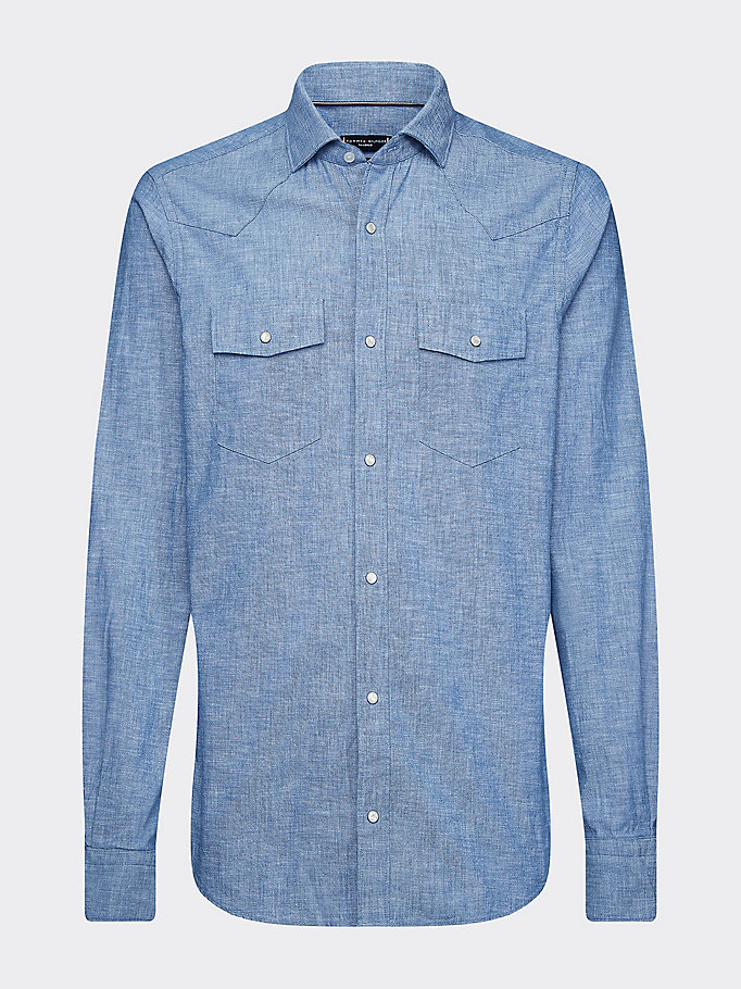 blue western washed chambray slim fit shirt for men tommy hilfiger