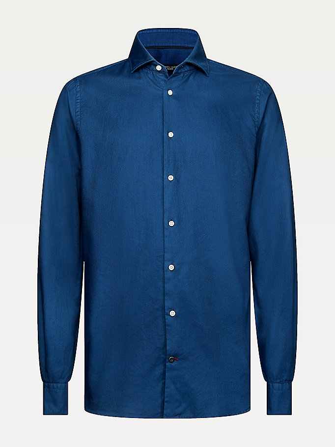 camicia slim fit in cotone oxford blu da men tommy hilfiger