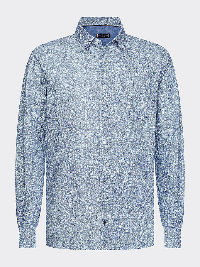 blue floral print slim fit shirt for men tommy hilfiger