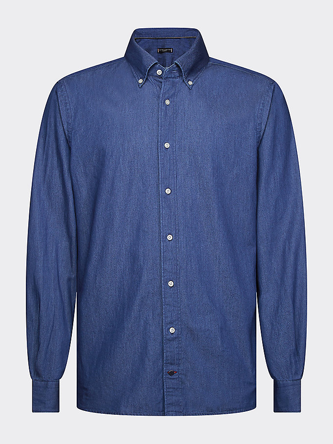 denim button-down collar denim shirt for men tommy hilfiger