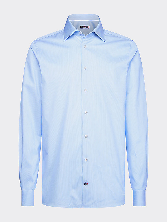 blue egyptian cotton slim fit stripe shirt for men tommy hilfiger